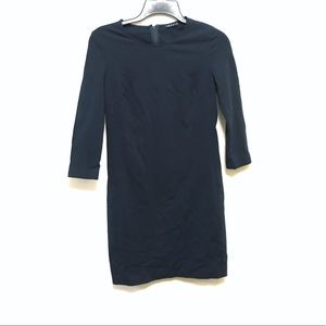 Theory Navy 3/4 Sleeve Sheath Knee Length Dress